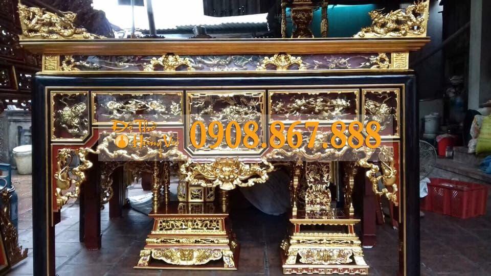 bàn thờ ô xa sơn son thếp vàng 5 ô