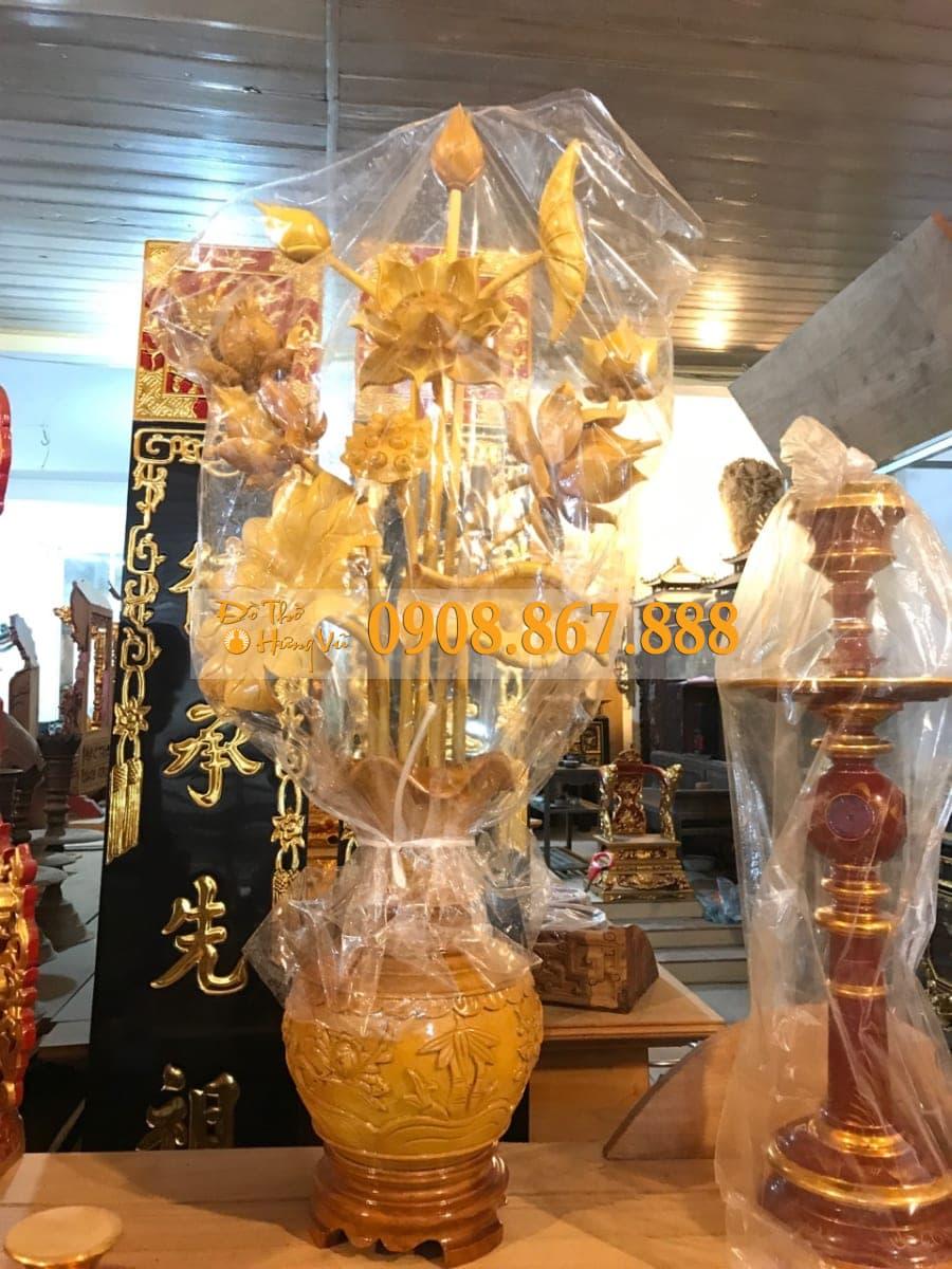 hoa sen gỗ phun pu
