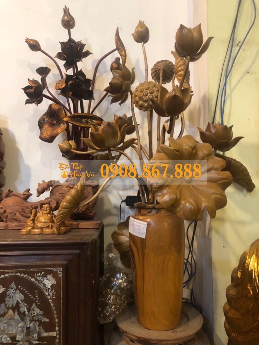 Hoa sen gỗ Trang Trí