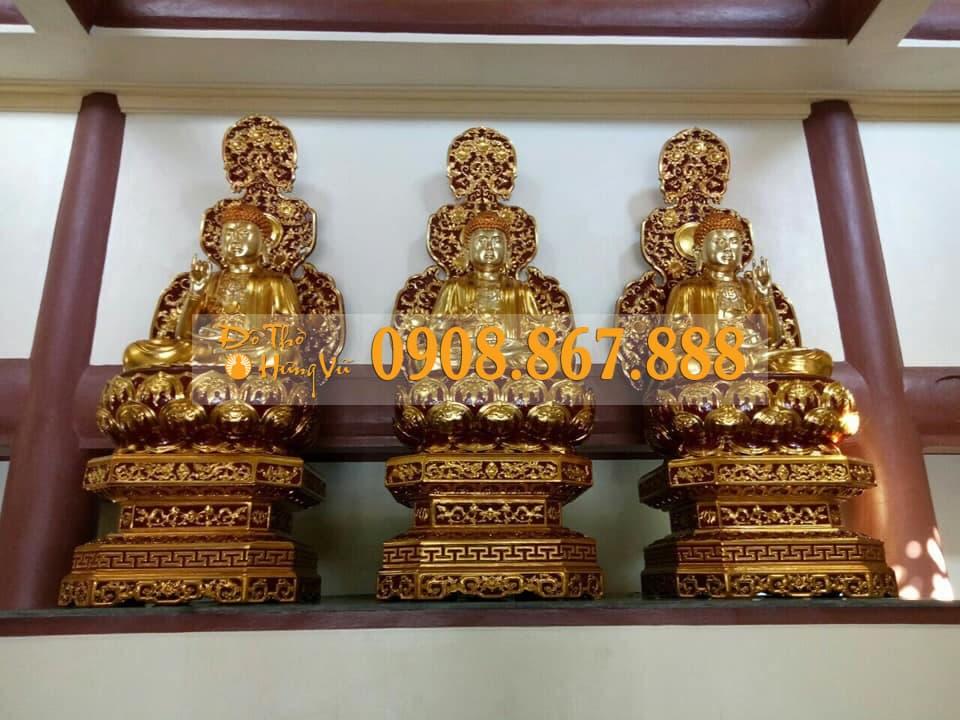 Tượng Phật Tam Thế Gỗ Mít Sơn Son Thếp Vàng...