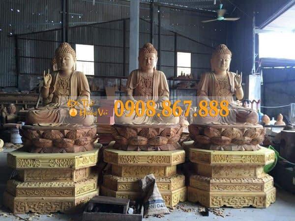 Tượng Tam Thế Phật Gỗ Mít .