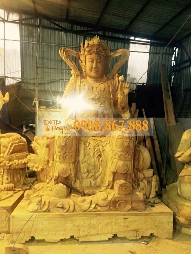 tượng hộ pháp khuyến thiện gỗ mít