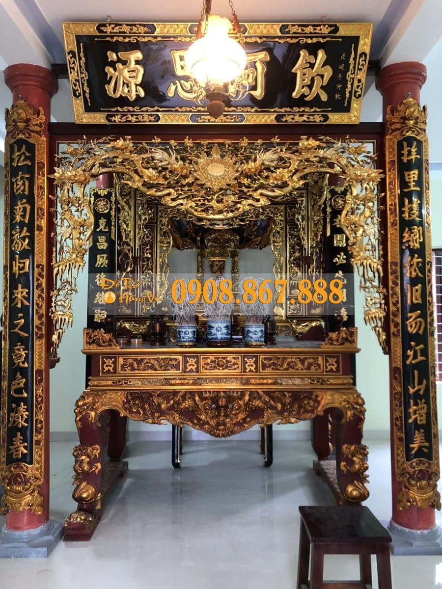 Mẫu Cửa Võng Mai Điểu Gỗ Mít Sơn Son Thếp Vàng