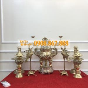 Bộ Đỉnh Đồng , Hạc , Cây Nến , Cây Đèn Nhà Cô Chú Thịnh Hào
