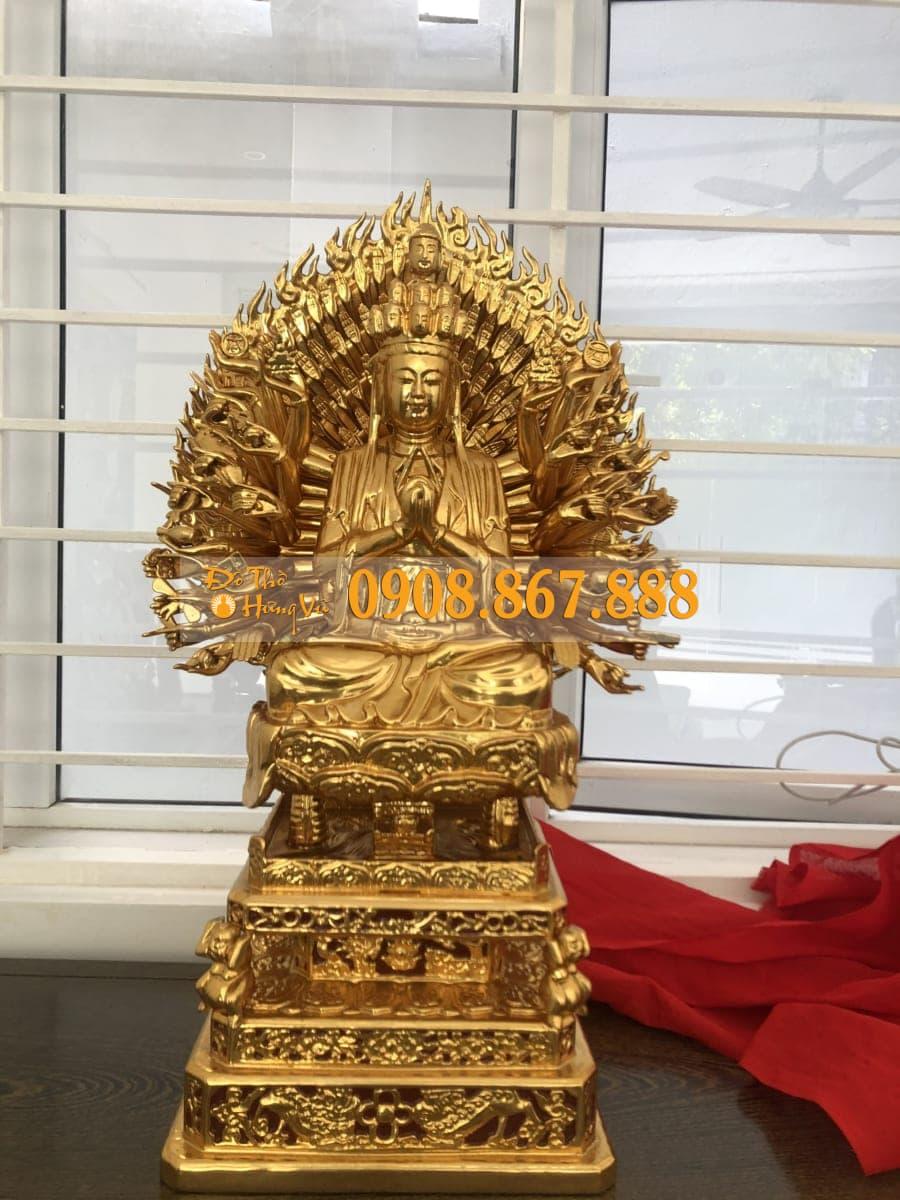 tượng phật bà thiên thủ thiên nhãn gỗ mít sơn son thếp vàng