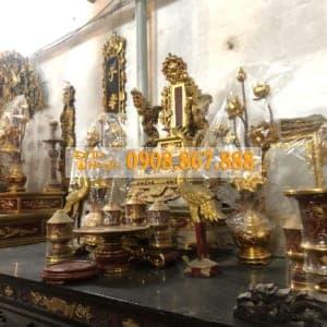 Bộ Đài Nến Gỗ Mít , Gụ , Hương Phun PU , Sơn Son Thếp Vàng