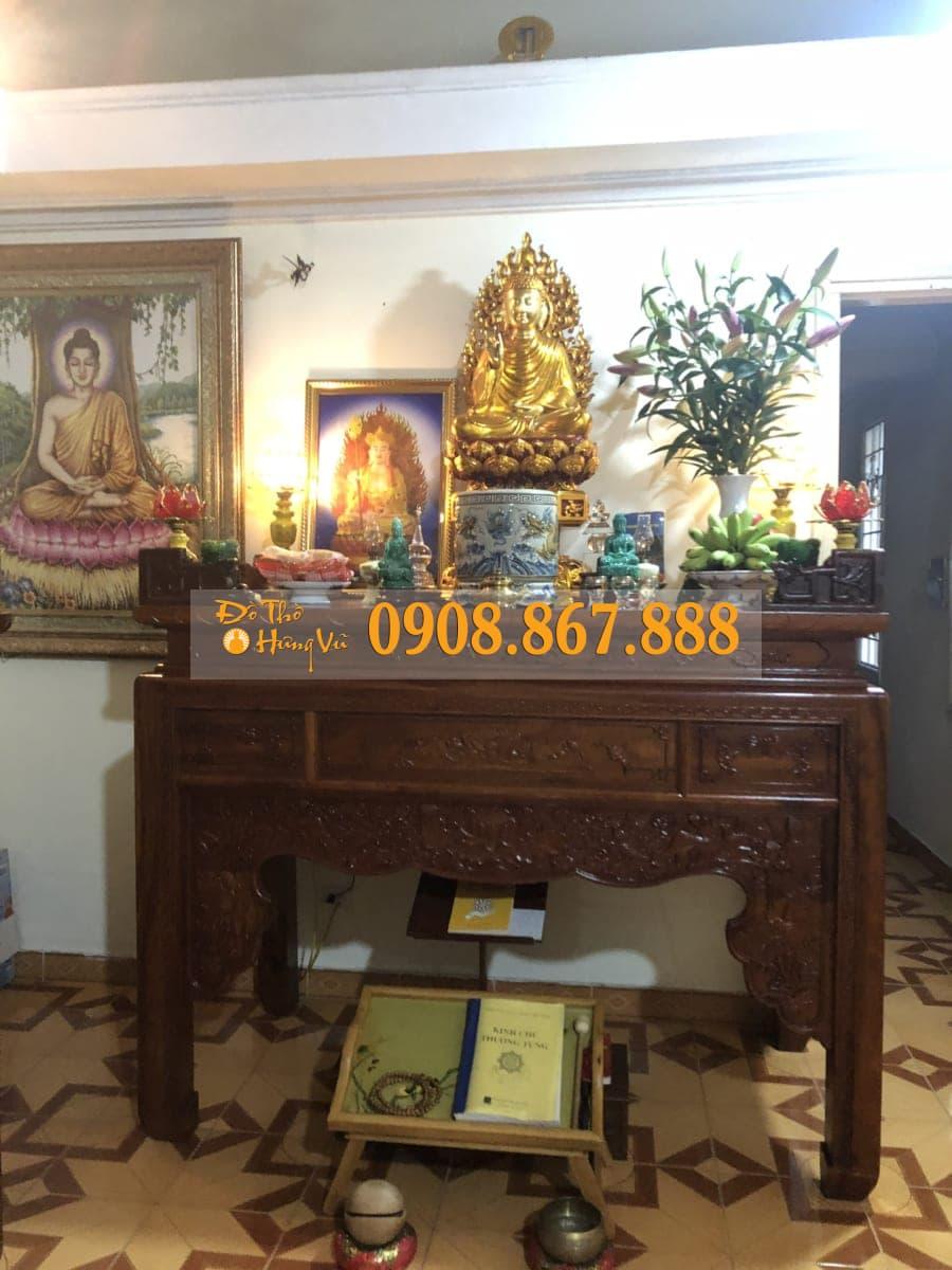 Mẫu bàn thờ phật sen gỗ hương