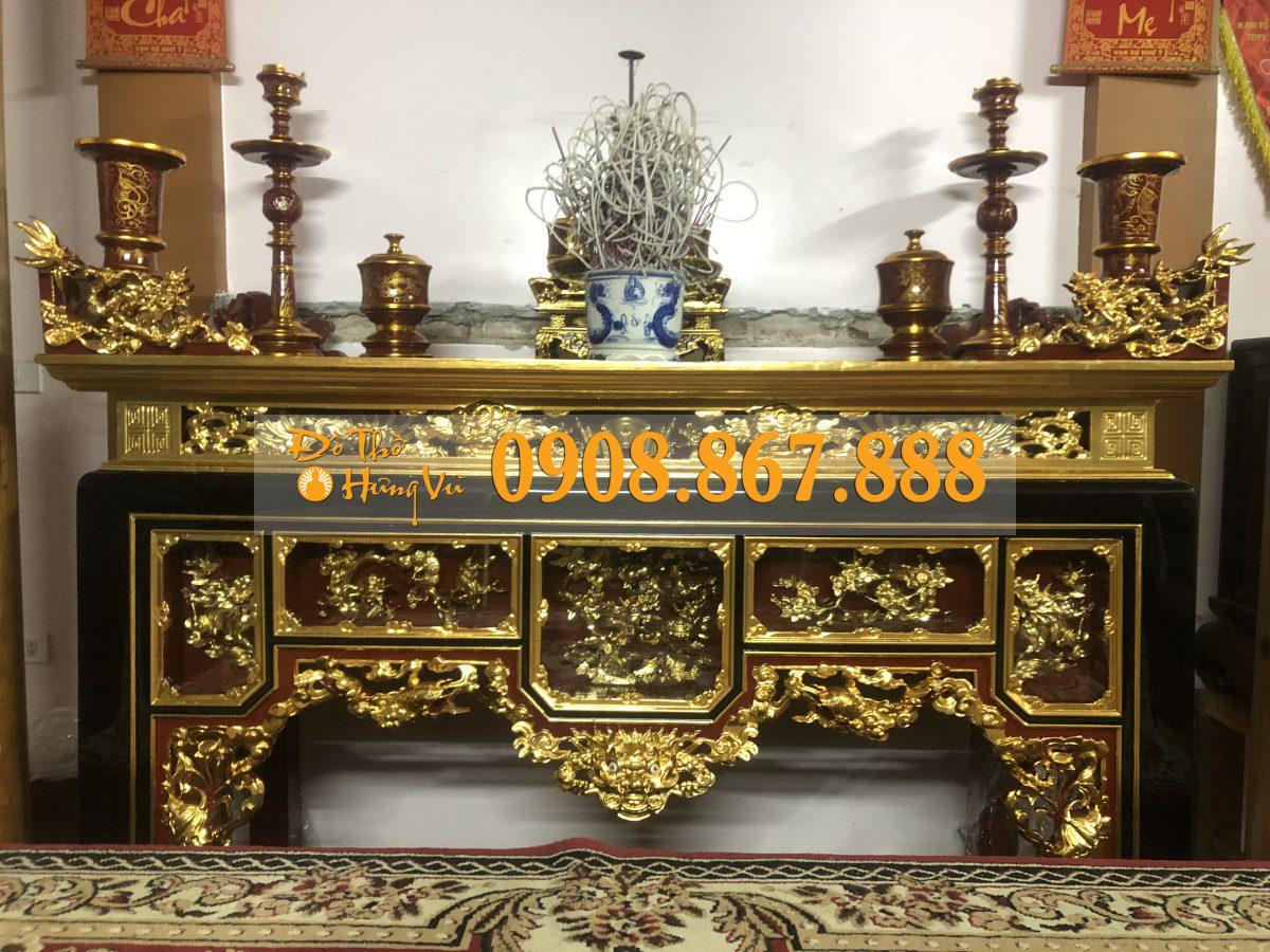 mẫu bàn thờ ô xa sơn son thếp vàng gỗ mít