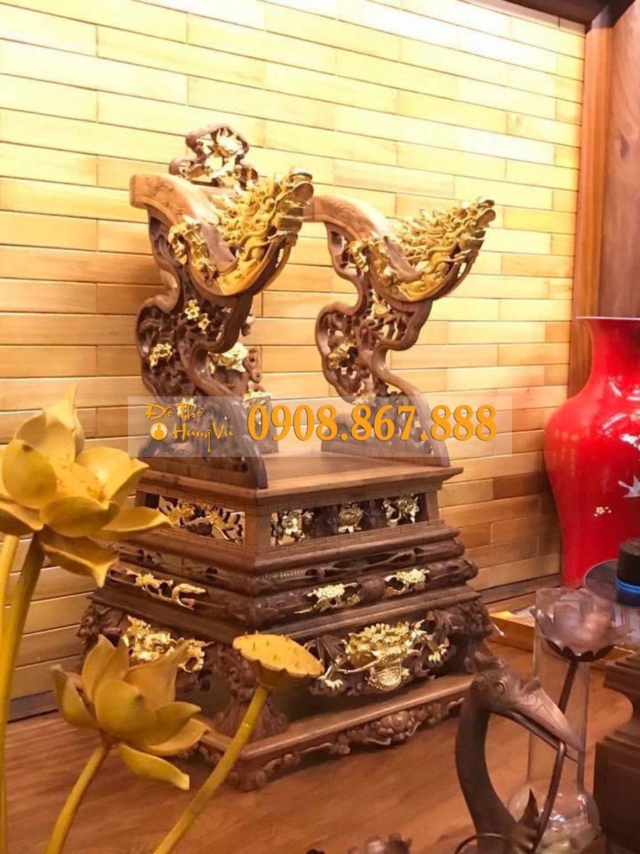 ngai thờ gỗ gụ thếp vàng 9999