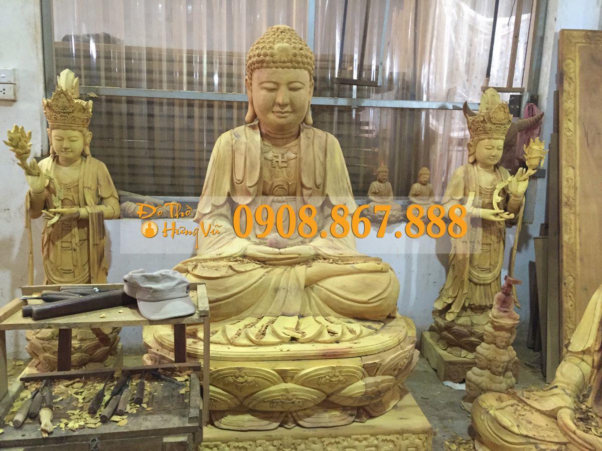Tượng Phật a di đà gỗ mít