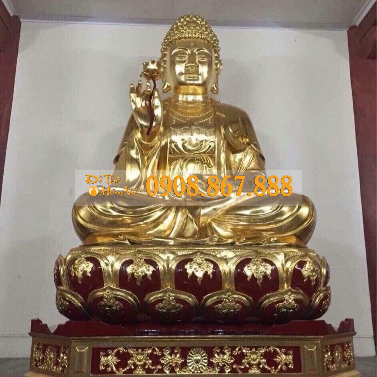 Tượng Phật thích ca mâu ni thếp vàng 999999
