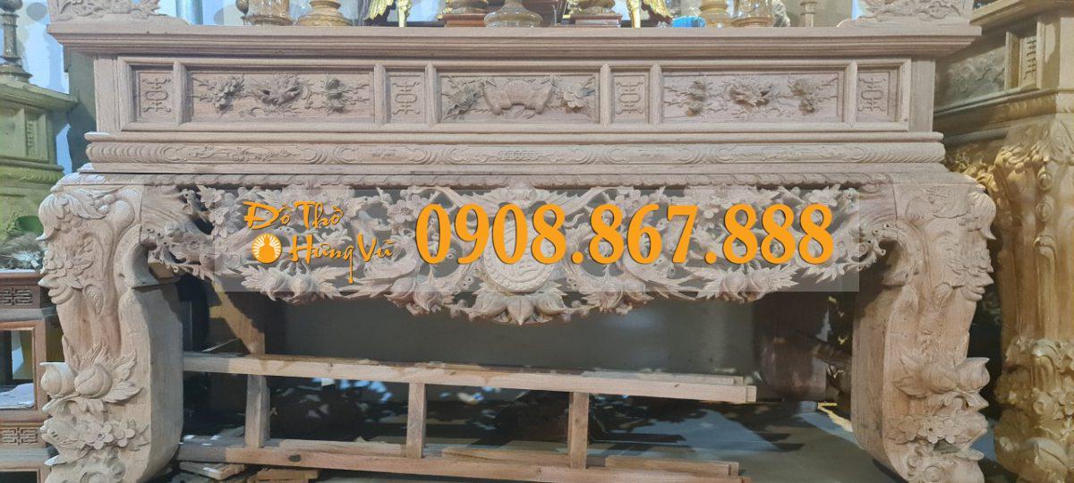 sập thờ mia điểu gỗ hương đá