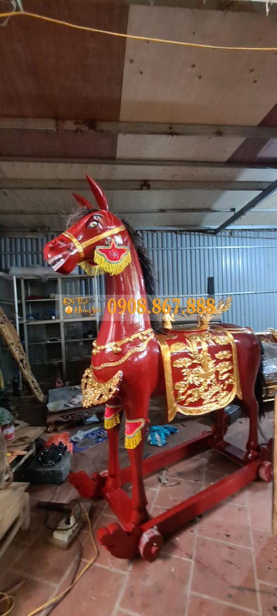 Mẫu Ngựa Thờ Gỗ Mít Sơn Son Thếp Vàng .